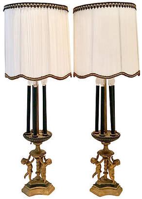 One Kings Lane Vintage Antique Bronze Gilt Putti Lamps - Set of 2