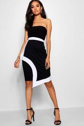 boohoo Petite Contrast Edge Midi Skirt