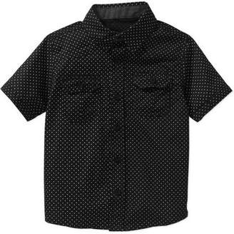Beverly Hills Polo Club Boys' All-Over Printed Poplin Woven Short-Sleeve Shirt with Chambray Details