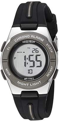 Armitron Sport Women's 45/7096BLK Dark Grey Accented Digital Chronograph Silicone Strap Watch