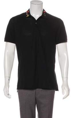 Gucci Embroidered Short Sleeve Polo
