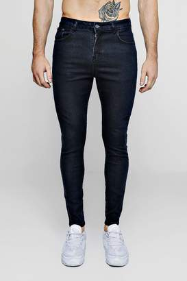 boohoo Spray On Skinny Washed Indigo Jeans