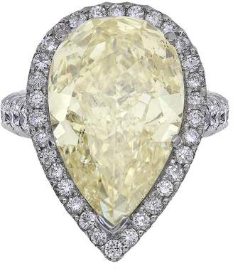 Platinum 14.24ct Yellow Pear Shape Diamond Engagement Ring Size 7.5