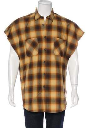 Fear Of God Cut-Off Plaid Flannel Shirt
