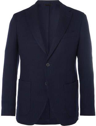 Altea Navy Slim-Fit Unstructured Herringbone Virgin Wool Blazer