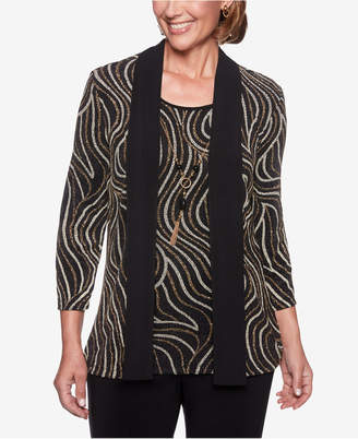 Alfred Dunner Petite Shining Moments Abstract Swirl Layered-Look Top