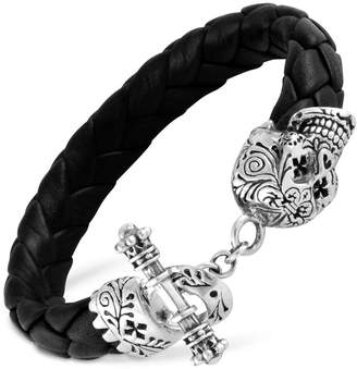 King Baby Studio Men's Decorative Skull Braided Leather Bracelet in Sterling Silver