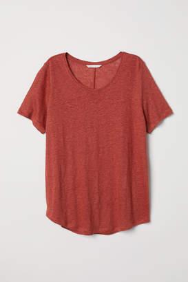 H&M Linen Scoop-neck Top - Orange