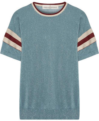 Golden Goose Claudine Striped Metallic Knitted Top - Light blue