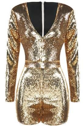 63630667d077 IRISIE Women Long Sleeve V Neck Sequin Bodycon Party Romper Jumpsuit