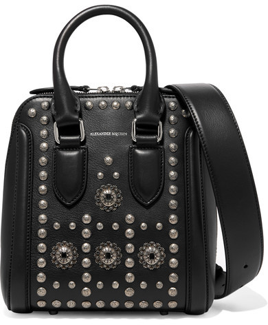 Alexander McQueen Alexander McQueen - Heroine Small Embellished Leather Shoulder Bag - Black