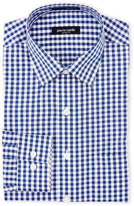 Pierre Cardin Navy Gingham Slim Fit Dress Shirt