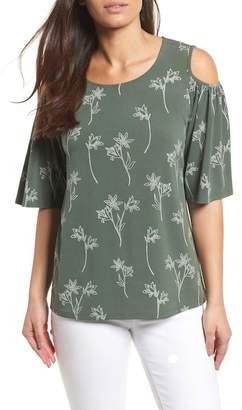 Chaus Floral Outlines Cold Shoulder Top