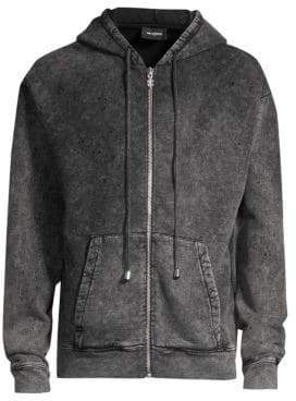 The Kooples Men's Washed Cotton Zip Hoodie - Black Washed - Size Small