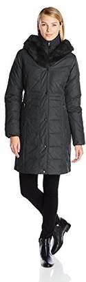 Larry Levine Women's Hooded Three-Quarter-Length Down-Filled Coat