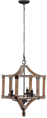 A&B Home Ab Home Andreas Wood And Iron Round Chandelier