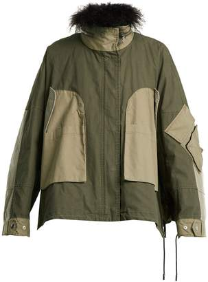YVES SALOMON ARMY Fur-trimmed patchwork cotton jacket