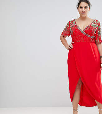 Virgos Lounge Plus Julisa Embellished Wrap Midi Dress