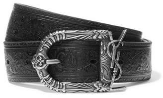 Saint Laurent Embossed Leather Belt - Black