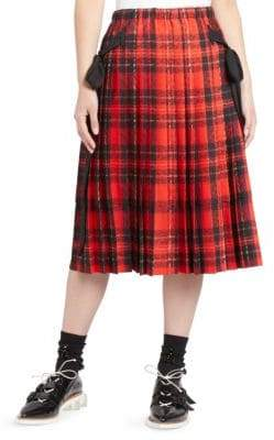 Simone Rocha Pleated Tartan Midi Skirt