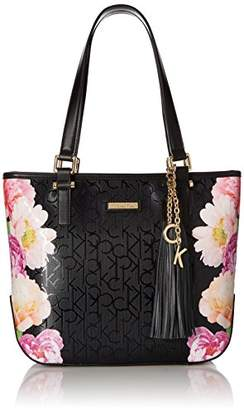 Calvin Klein Floral Printed Textured Emboss North/South Tote