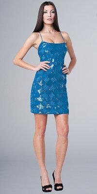 Blue Sequin Mini Dress by Aidan Mattox Niteline