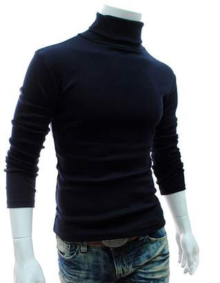 LEO BON Mens Slim Fit Soft Cotton Pullover Light Weight Thermal Turtleneck Basic Ribbed Pullover Thermal Sweaters