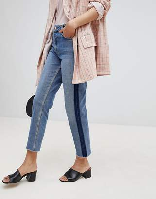Miss Selfridge Straight High Rise Patch Jeans