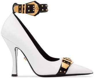 Versace white, black and gold metallic Studded buckle strap leather pumps