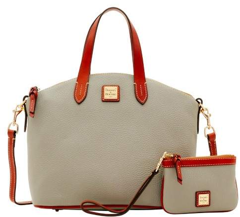 Dooney & Bourke Pebble Grain Satchel & Medium Wristlet - SMOKE - STYLE