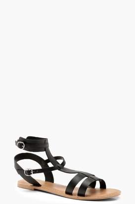 boohoo Multi Strap Leather Gladiator Sandals