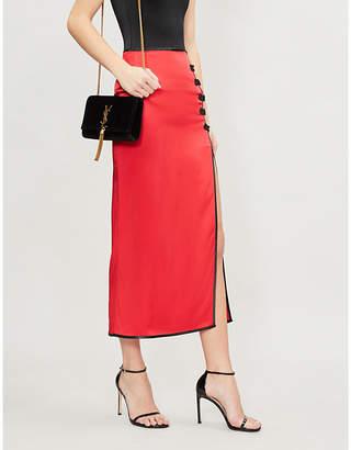 DE LA VALI Lexi contrast–trim side-slit satin maxi skirt