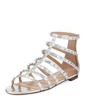 Valentino Lovestuds Caged Metallic Flat Sandal