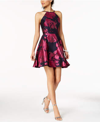 Xscape Evenings Printed Open-Back Fit & Flare Dress