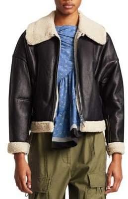 3.1 Phillip Lim Dolman Aviator Style Shearling-Trim Leather Jacket