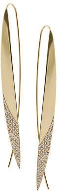 Lana Slim Upside Down Hoop Earrings with Diamond Tips
