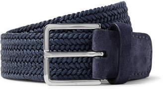 Loro Piana 4.5cm Navy Suede-Trimmed Woven-Linen Belt