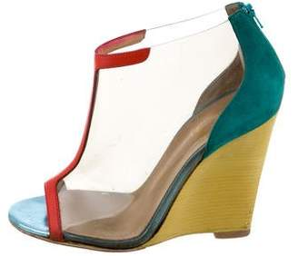 Christian Louboutin Peep-Toe PVC Wedges