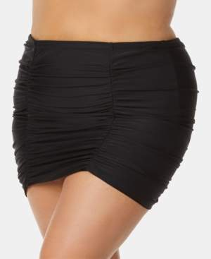 Raisins Curve Trendy Plus Size Ruched Tummy-Control Swim Skirt Women's Swimsuit