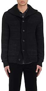 Vince MEN'S MARLED WOOL-BLEND CARDIGAN - BLACK SIZE XL