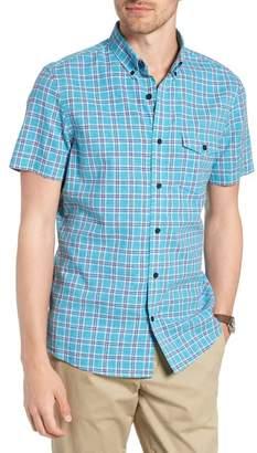 1901 Ivy Trim Fit Plaid Cotton & Linen Sport Shirt