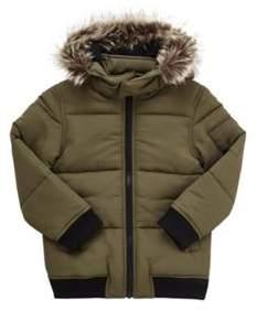 Faux Fur Trim Puffer Coat