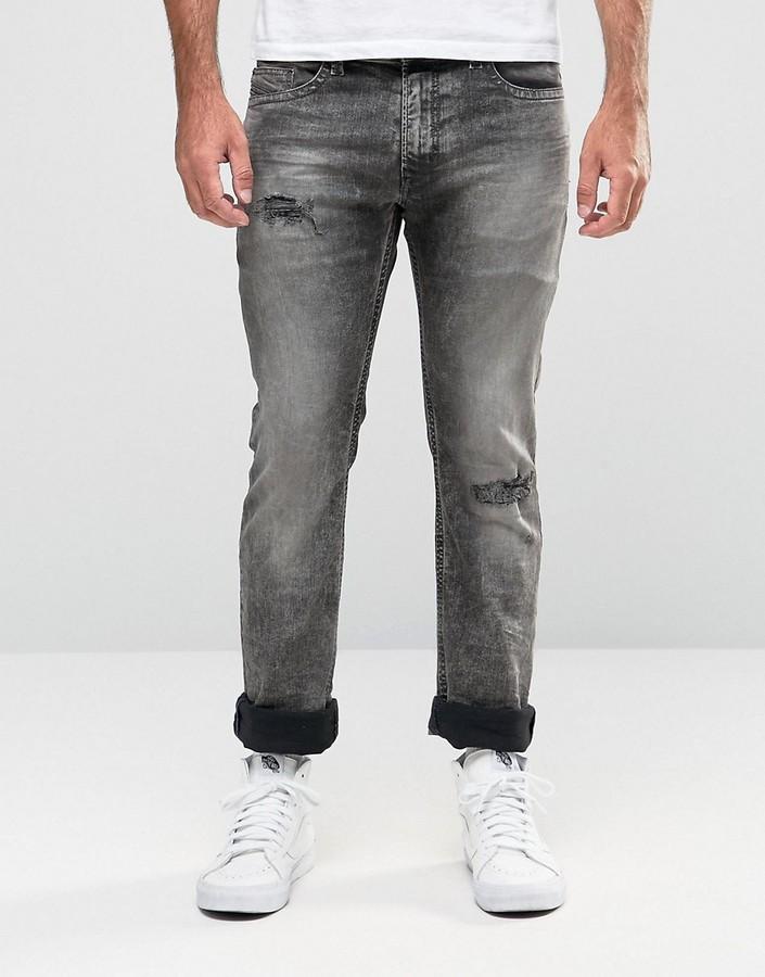 DieselDiesel Thavar Slim Jeans 858M Black Acid Distressed