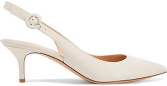 Gianvito Rossi Anna 55 Leather Slingback Pumps - White