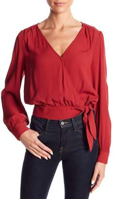 Elodie Wrap Front Long Sleeve Woven Blouse