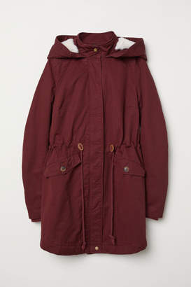 H&M Padded Parka with Hood - Red