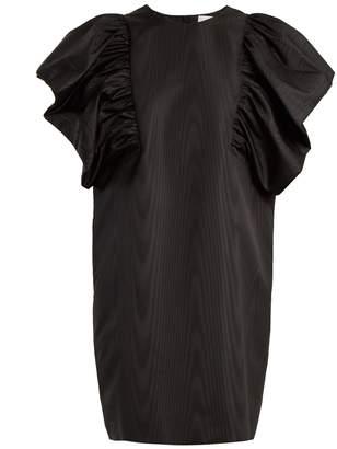 MSGM Oversized ruffled-sleeve moire dress