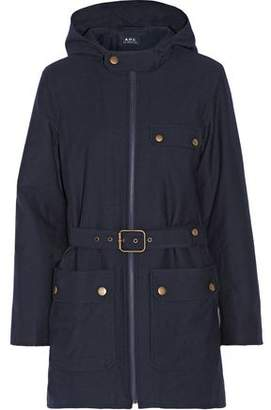 A.P.C. Belted Cotton And Wool-Blend Hooded Coat
