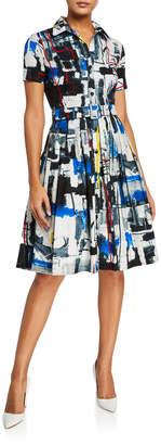 Samantha Sung Audrey Short-Sleeve Newman Abstract Stretch Cotton Shirtdress