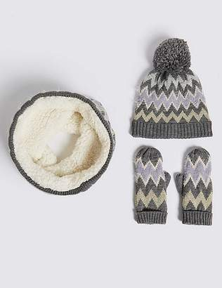 Marks and Spencer Kids' Hat & Snood with Mittens Set